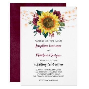 rustic sunflower string lights fall wedding invitation