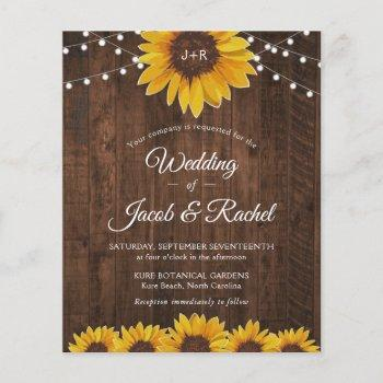 rustic sunflower string lights wedding invitation