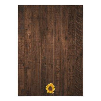 Small Rustic Sunflower String Lights Wedding Invitation Back View
