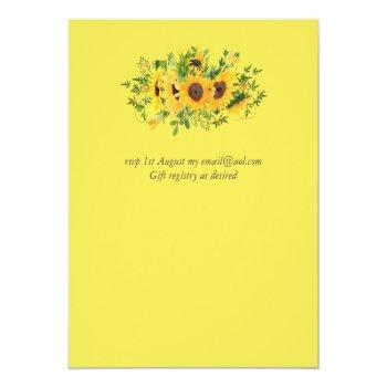 Small Rustic Sunflower Themed Wedding Stationery Budget Back View