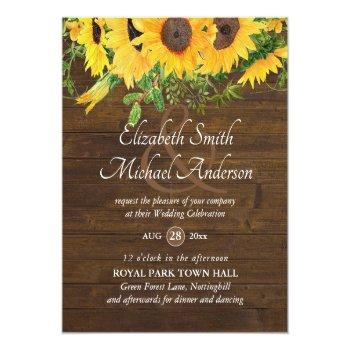 Small Rustic Sunflower Themed Wedding Stationery Budget Front View