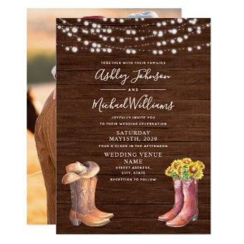rustic sunflower western typography photo wedding invitation