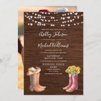 rustic sunflower western typography photo wedding invitation