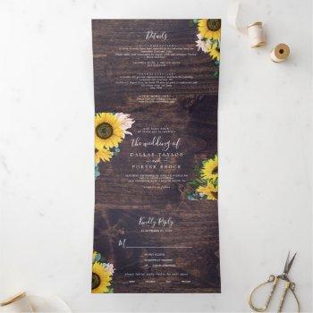 rustic sunflower | wood photo wedding all in one tri-fold invitation
