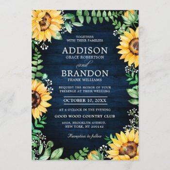 rustic sunflowers baby's breath navy blue wedding invitation