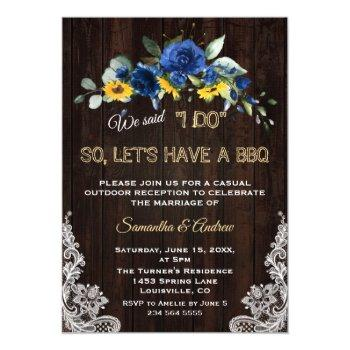 rustic sunflowers blue flowers lace i do bbq invitation