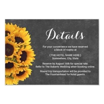rustic sunflowers chalkboard wedding details invitation