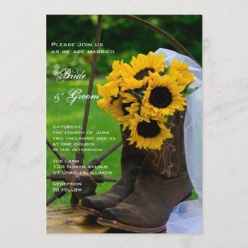 rustic sunflowers cowboy boots western wedding invitation