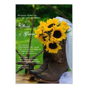 rustic sunflowers cowboy boots western wedding invitation