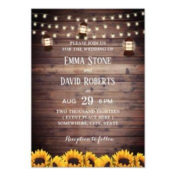 rustic sunflowers lantern & string lights wedding invitation