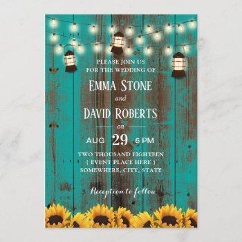 rustic sunflowers & lanterns teal barn wedding invitation