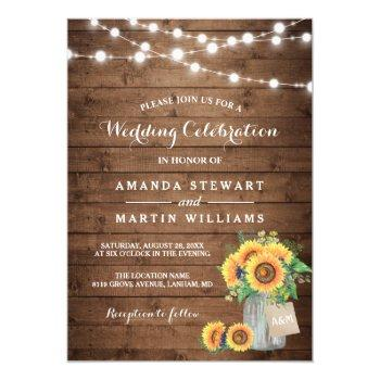 rustic sunflowers mason jar string lights wedding invitation