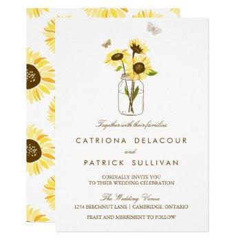 rustic sunflowers on mason jar wedding invitation