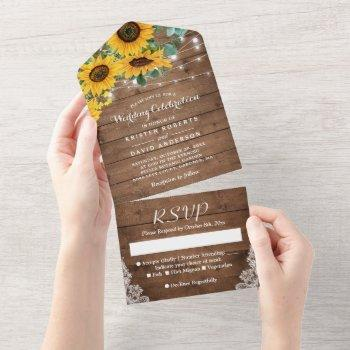 rustic sunflowers string lights lace wedding all in one invitation