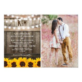 rustic sunflowers string lights photo wedding invitation