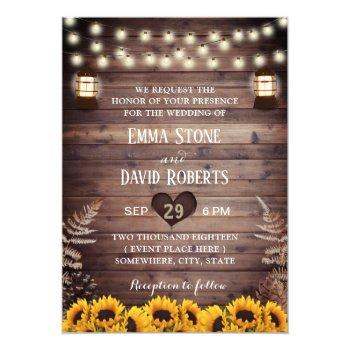 rustic sunflowers vintage lantern fall wedding invitation