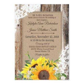 rustic sunflowers wedding invitation
