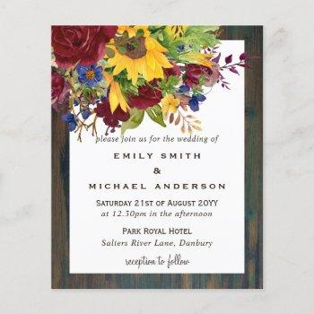 rustic sunflowers yellow burgundy floral wedding
