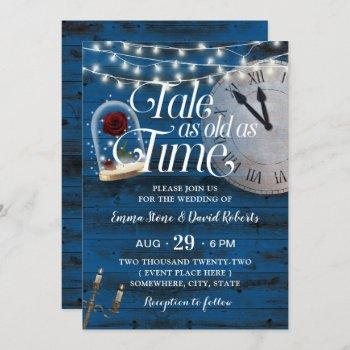 rustic tale as old as time navy fairytale wedding invitation