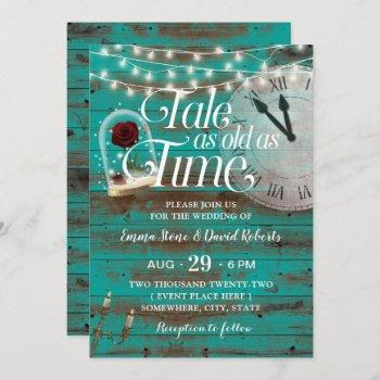 rustic tale as old as time teal fairytale wedding invitation
