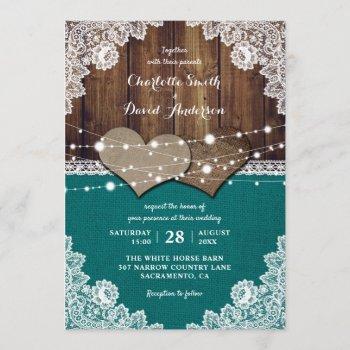 rustic teal barn wood burlap lace wedding invitation