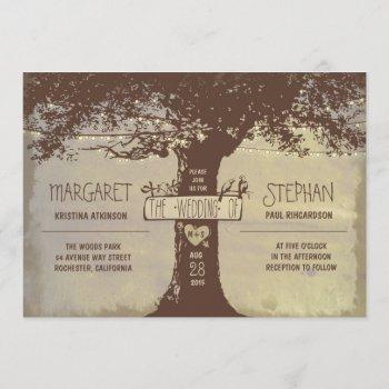 rustic tree and string lights wedding invitation