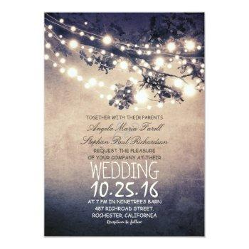 rustic tree branches & string lights wedding invitation