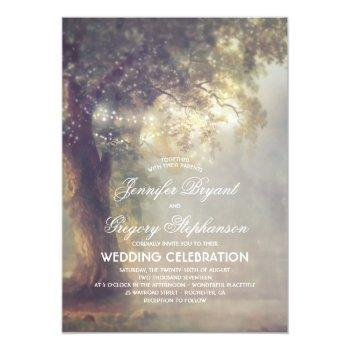 rustic tree dreamy string lights vintage wedding invitation