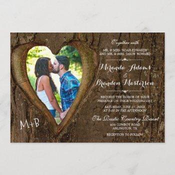 rustic tree heart country wedding photo invitation