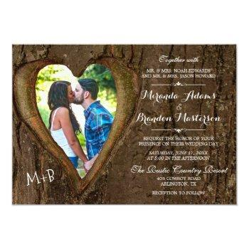 rustic tree heart country wedding photo invitation