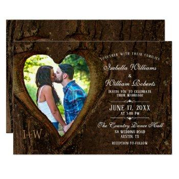 rustic tree heart with your photo wedding invitation