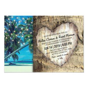 rustic tropical beach destination wedding invitation