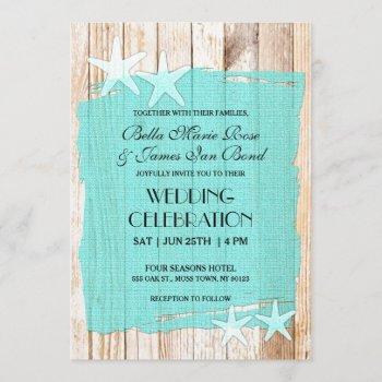 rustic turquoise starfish wedding invitation