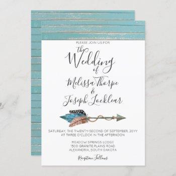 rustic turquoise wood feathers wedding invitation