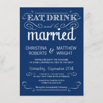 rustic typography blue wedding invitations