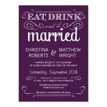 rustic typography plum purple wedding invitations