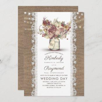 rustic vintage floral mason jar   burlap wedding invitation