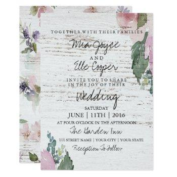 rustic vintage floral wood wedding invitation