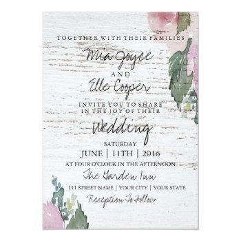 Small Rustic Vintage Floral Wood Wedding Invitation Front View