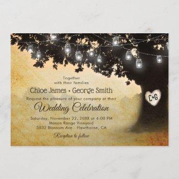 rustic vintage oak tree mason jar lights wedding invitation