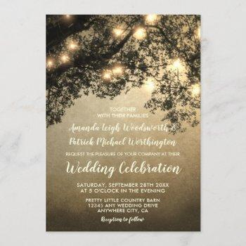 rustic vintage tree branch wedding invitations
