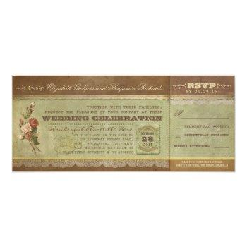 rustic vintage wedding tickets with rsvp invitation