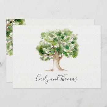 rustic watercolor arboretum oak tree invitation