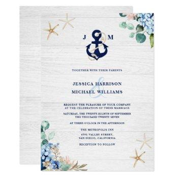 rustic watercolor beach floral anchor wedding invitation