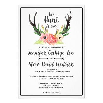 rustic watercolor floral boho hunt is over wedding invitation