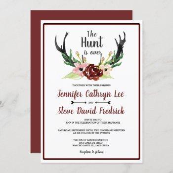 rustic watercolor floral boho hunt is over wedding invitation