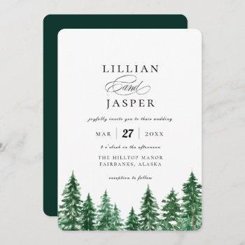 rustic watercolor forest wedding invitation