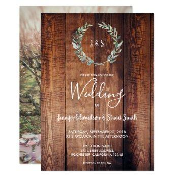 rustic watercolor leaves monogram photo wedding invitation