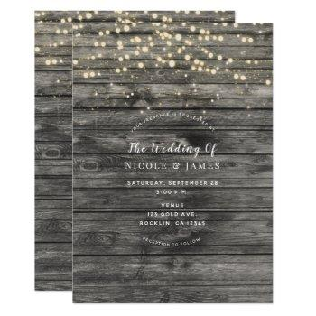 rustic weathered grey wood string lights wedding invitation
