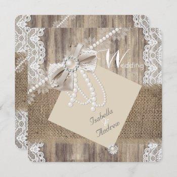 rustic wedding beige pearl lace wood burlap 3 invitation